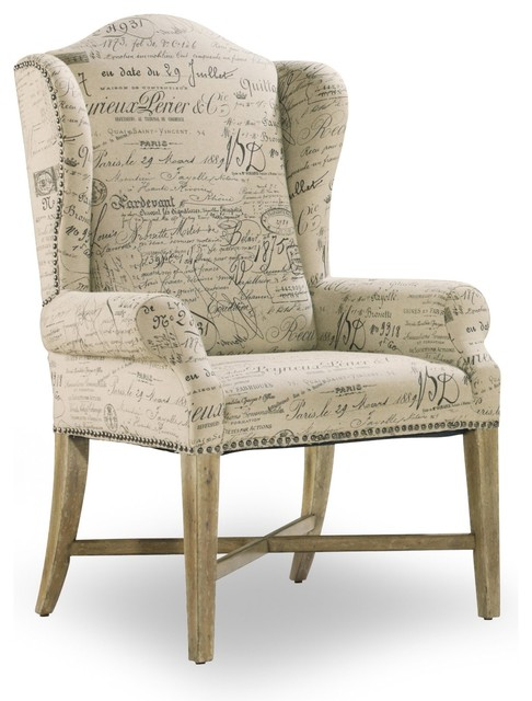 Wing back dining arm chair parchment document fabric for Dining room wingback chairs