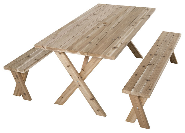 Leg Picnic Table 71 L Wt 73530 Farmhouse Outdoor Dining Furniture