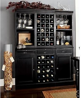Wine Bar Wall Unit, 2 Cabinets/1 Wine Grid Base, 2 Open Hutches/1Wine Grid Hutch - Traditional ...