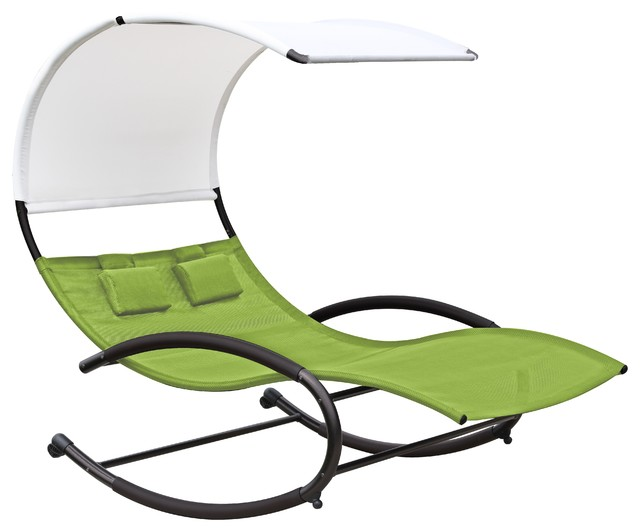 double chaise rocker green apple modern outdoor rocking chairs by vivere ltd. Black Bedroom Furniture Sets. Home Design Ideas