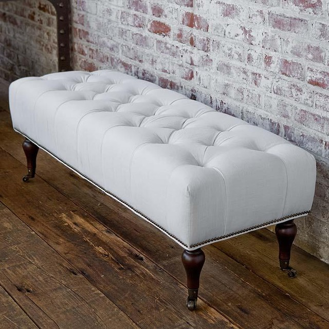 Regina andrew tufted white linen bench traditional upholstered benches by candelabra White upholstered bench