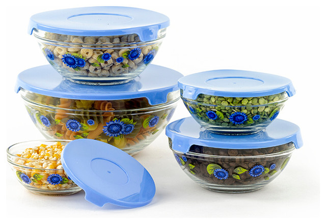 10 piece glass bowls blue flowers contemporary mixing bowls by icydeals. Black Bedroom Furniture Sets. Home Design Ideas