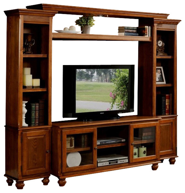 4-Piece Dita Light Oak Finish Wood Slim Profile Entertainment Center Wall Unit - Contemporary ...