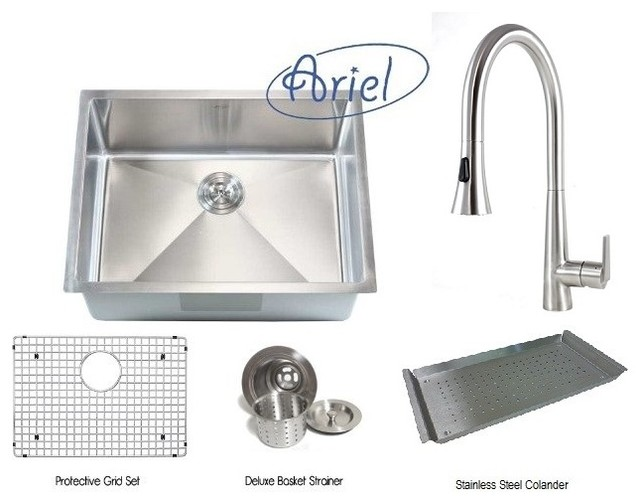 ariel 26 inch single bowl kitchen sink and eclipse design
