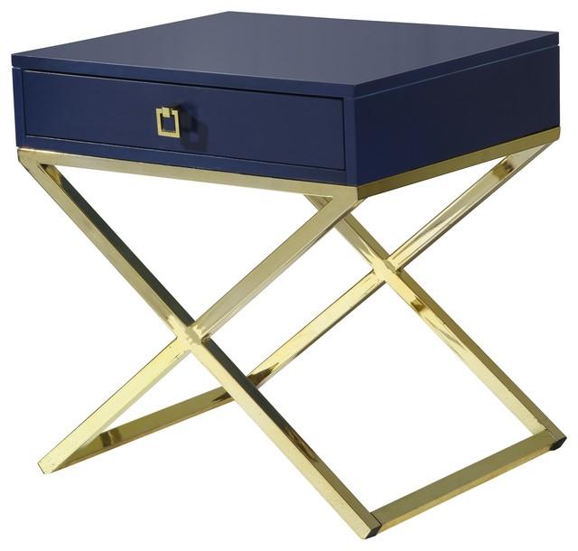bogart lacquer finish x metal leg side table 24 x20 x25 navy blue transitional side. Black Bedroom Furniture Sets. Home Design Ideas