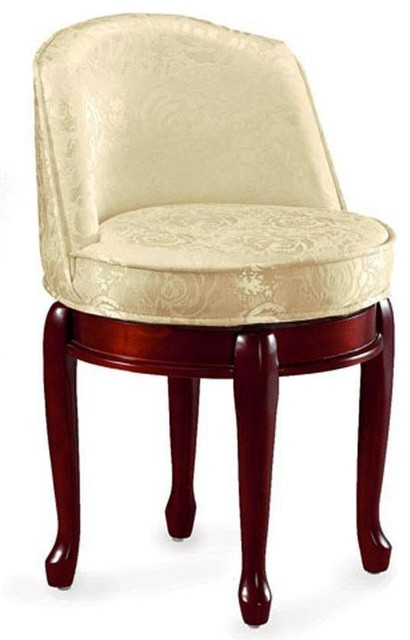 Delmar High Back Swivel Vanity Stool Traditional Footstools And Ottomans