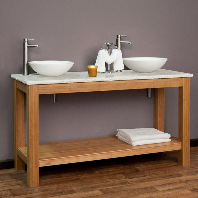 60 michele bamboo double vessel sink console vanity for Modern bamboo bathroom vanity