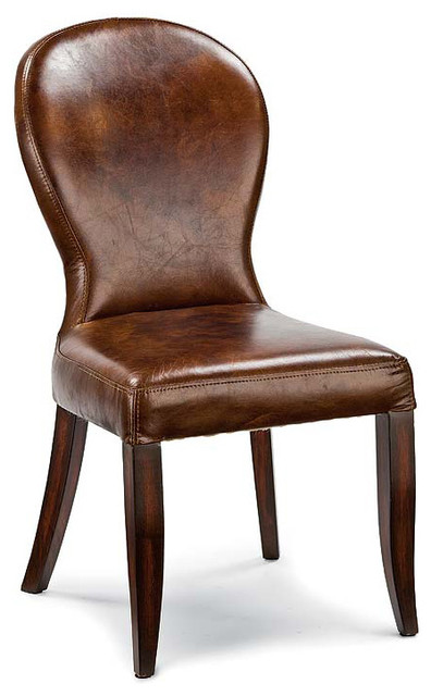 Bunyan Rustic Lodge Brown Leather Upholstered Dining Chair Rustic Dining