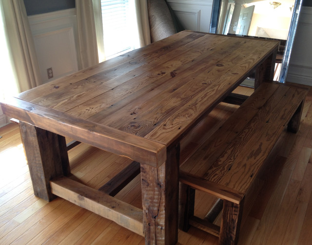 Reclaimed wood extension table for Traditional dining table with bench