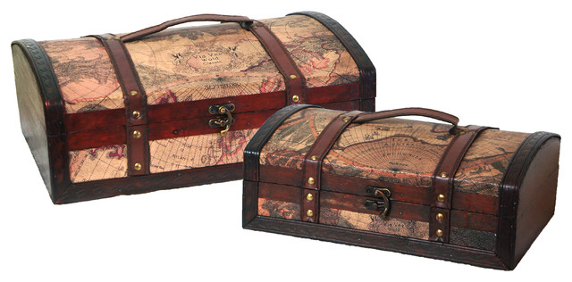 Old World Map Treasure Chest Set of 2 traditional-accent-chests-and-cabinets