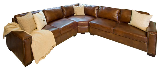 Naples Leather Sectional Sofa With Nailhead Trim Brown