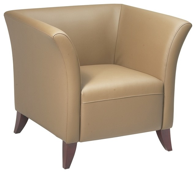 Taupe Leather Club Chair With Cherry Finish L Contemporary Living Room Chairs