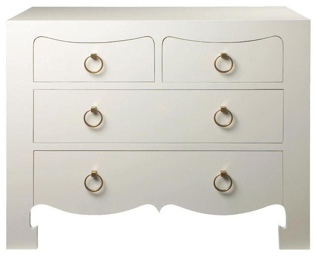 Bungalow 5 Jacqui 4 Drawer Chest in White - Asian - Dressers - by Candelabra