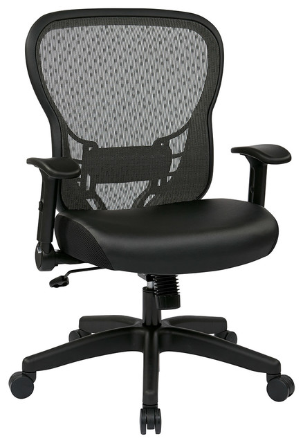 Office Star Deluxe R2 Spacegrid Back Chair With Mesh Seat And Flip Arms Tra