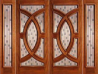 Mahogany Prehung Double Door And Two Sidelite Circle