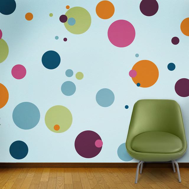Polka dot circle wall stencils for painting   contemporaneo ...