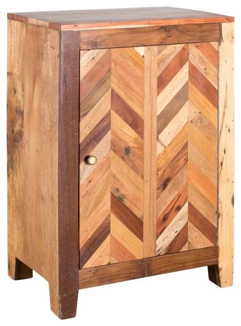 Reclaimed wood plank inlay door decorative cabinet