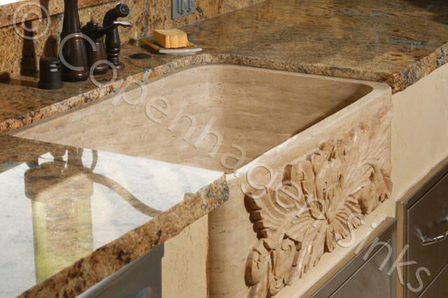 Kitchen Stone Farm Sink Beige Travertine Single Bowl