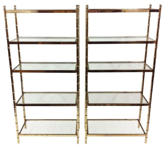 Pre-owned Regency Brass Faux Bamboo Glass Etageres - A Pair modern ...