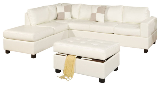 3 pcs cream bonded leather sectional sofa with reversible for Bonded leather sectional sofa with chaise