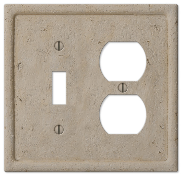 Faux Stone Resin 1-Toggle, 1-Duplex Wall Plate, Beige - Traditional - Switch Plates And Outlet ...