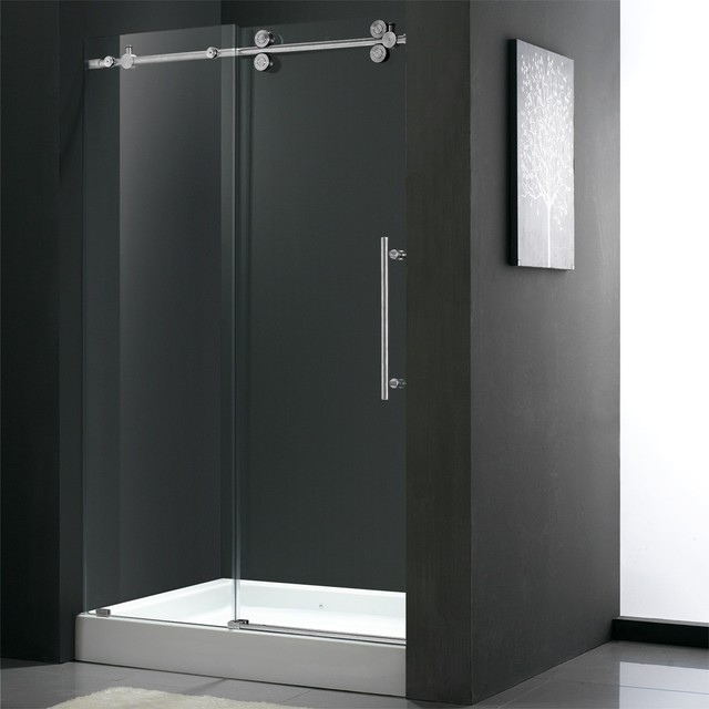 60 Quot Frameless Shower Door 3 8 Quot Clear Chrome Hardware With