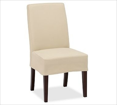 Napa Side Chair Slipcover Short Length Brushed Canvas