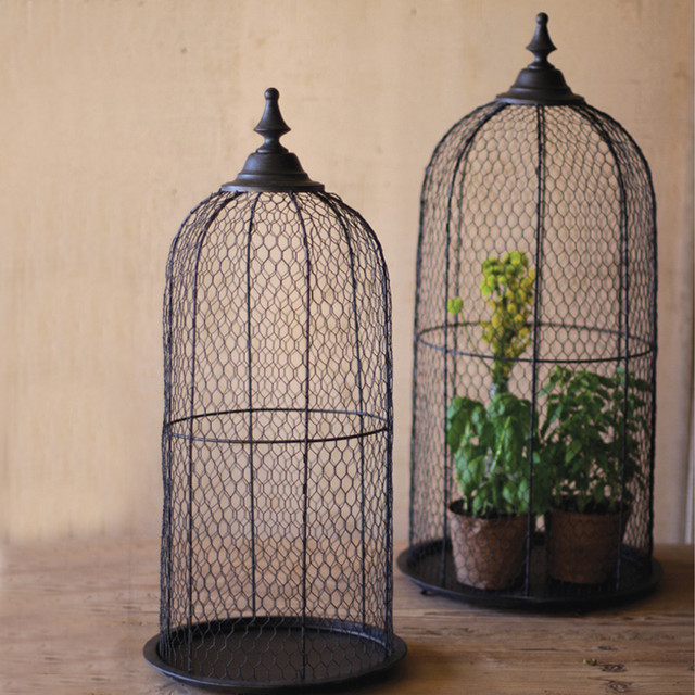 Wire Bird Cage Domes (Set Of 2)
