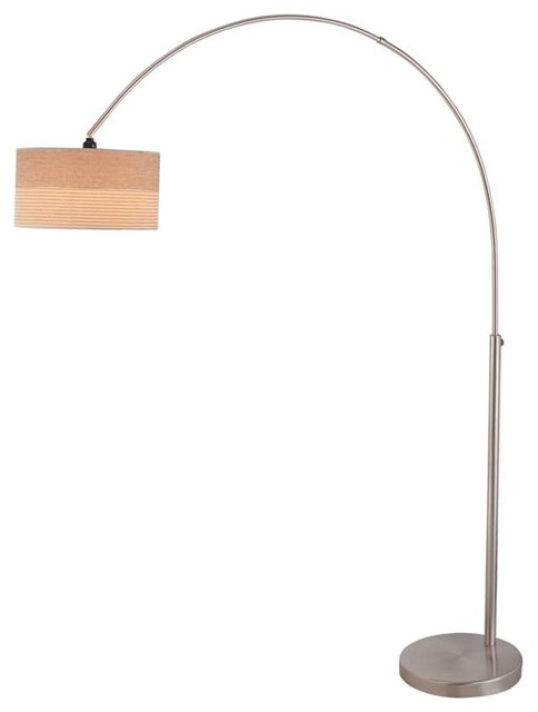 Lite source arch lamp polished silver with 2 tone for Silver tone floor lamp