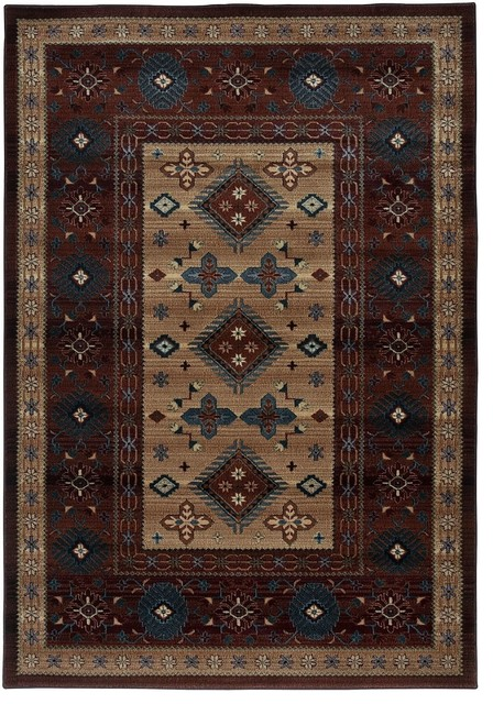 "Southwestern/Lodge Bellevue 1'8""x2'6"" Rectangle Red Area"