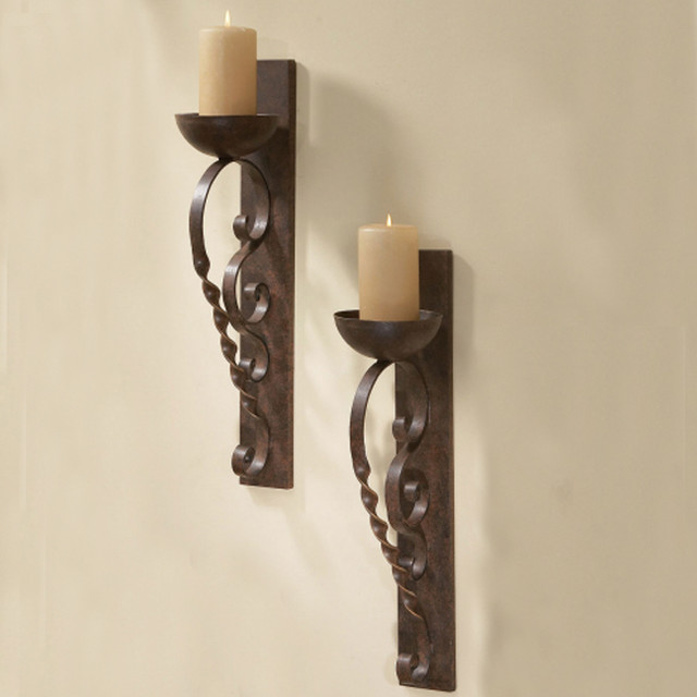 Wall Sconces Set Of 2 : Twisted Pillar Wall Sconces (Set of 2) - Mediterranean - Candleholders - Atlanta - by Iron Accents