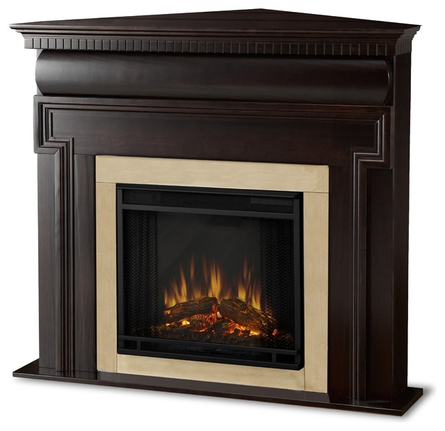 Real Flame Mt. Vernon Dark Walnut Corner Electric Fireplace - Contemporary - Indoor Fireplaces ...