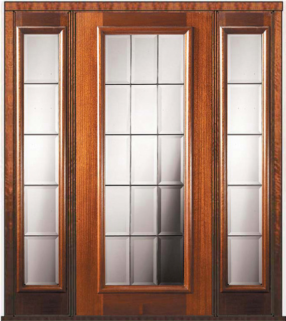 Prehung sidelights door 80 wood mahogany french full lite for French doors with sidelights