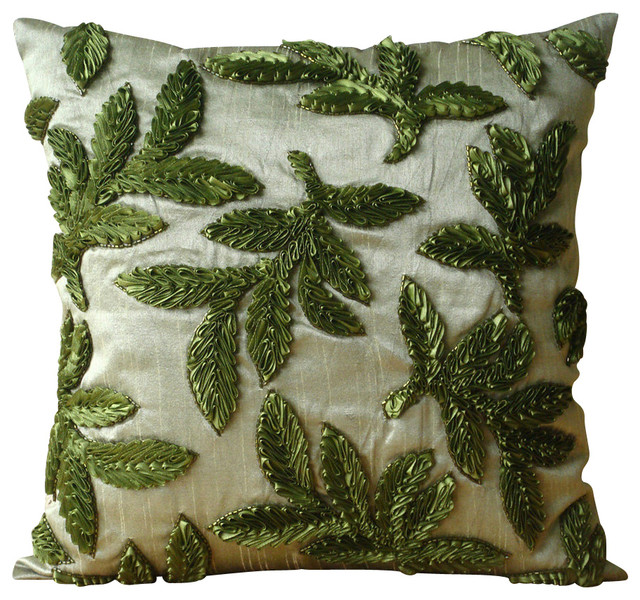 Green Silk Throw Pillow : Ribbon Leaf Green Art Silk 14