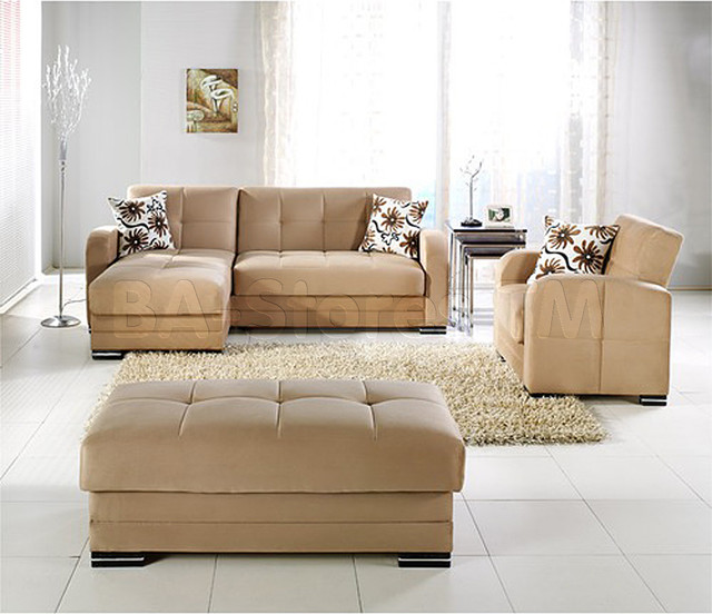Kubo rainbow dark beige 3 pc sectional set sectional sofa for Barcelona sectional sofa ottoman in beige