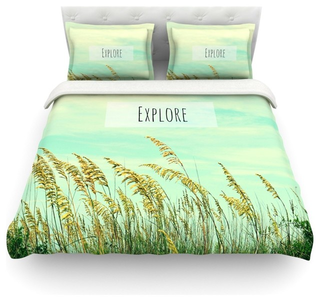 "Robin Dickinson ""Explore"" Quote Green Duvet Cover Farmhouse Duv"
