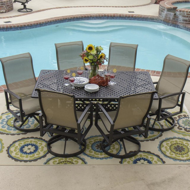 Acadia 6-Person Sling Patio Dining Set With Cast Aluminum