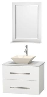 Centra 30 matte white vanity white stone top bone - Muebles de lavabo ...