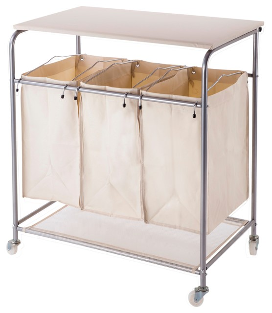 Heavy Duty Laundry Sorter With Ironing Board and Wheels - Hampers - by Nova Furniture Group