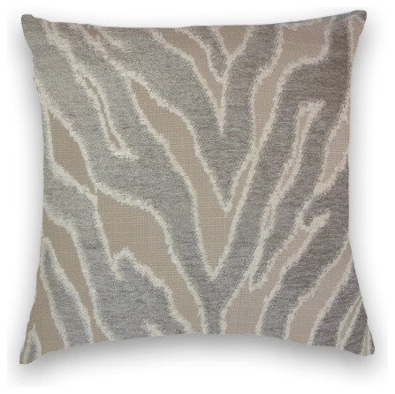 Grey Cream Chenille Zebra Design Throw, 18x18 Pillow Cover with Insert - Traditional ...