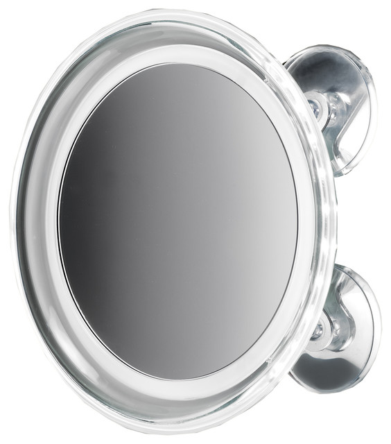 8u0026quot; Round Suction Cup 5x Cosmetic Magnifying LED Light Mirror, Chrome - Contemporary - Makeup ...