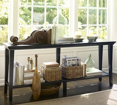 Metropolitan long console table black traditional for Couch and sofa table in front of window