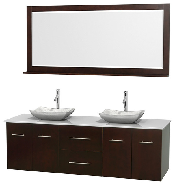72 Double Bathroom Vanity In Espresso Stone Countertop Sinks And Mirr