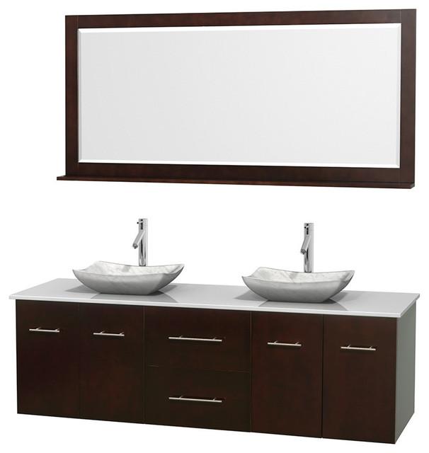 72 Double Bathroom Vanity In Espresso Stone Countertop Sinks And Mirror Contemporary