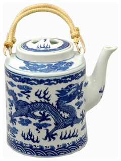 Blue And White Dragon Teapot Asian Teapots By