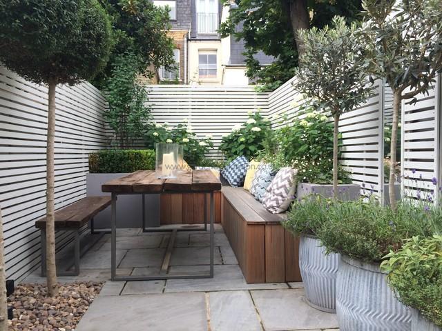 Slim Rear Garden Modern Patio