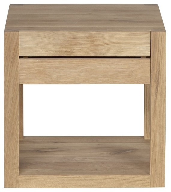 Chevet oak azur d 39 ethnicraft 1 tiroir contemporain for Table de nuit tiroir