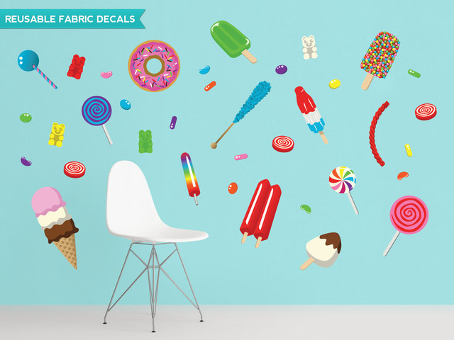 Candy fabric wall decals with lollipops posicles donuts for Candyland wall mural