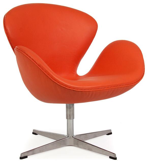 Mid Century Style Arne Wing Retro Lounge Chair Orange Italian Leather Mode