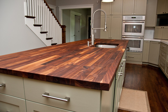 White Kitchen Island With Walnut Butcher Block Countertop : Custom Walnut Butcher Block Counter - Contemporary - Kitchen Countertops - atlanta - by Woodology